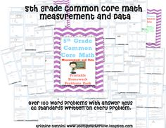 5th Grade Common Core Math Measurement and Data- 100 printable homework problems worksheets.Word problems with charts and line plots.