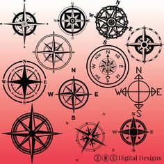 12 Compass Silhouette Clipart Images Clipart by OMGDIGITALDESIGNS