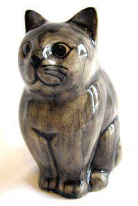 Hand Painted Quail Ceramic Cat Figurine