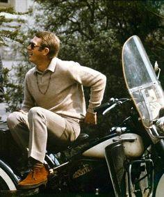 Steve McQueen on his motorcycle Hollywood Stars, Old Hollywood, Steve Mcqueen Style, Steve Macqueen, American Actors, Film, Movie Stars, Actors & Actresses, Harley Davidson
