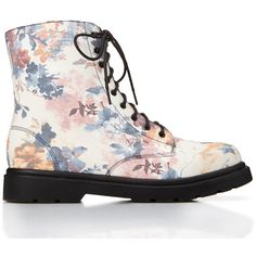 FOREVER 21 Floral Frenzy Combat Boots ($37) ❤ liked on Polyvore featuring shoes, boots, ankle booties, combat boots, botas, white, floral combat boots, white lace up boots, lace up boots and white booties