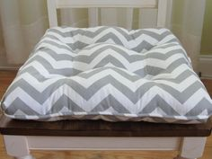 Tufted Custom Chair Cushion With Piping Trim In Gray White Chevron Zigzag, Seat…