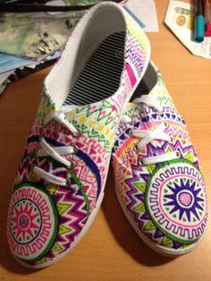 12.   Aztec adventure Tennis Shoes Custom Made & Hand-drawn