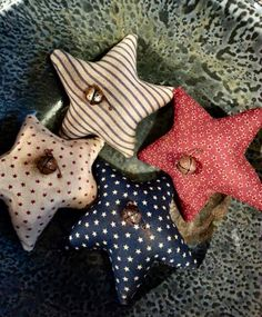 Primitive  Americana Cotton Fabric Star Ornies by FromTheFarmPrims, $7.99