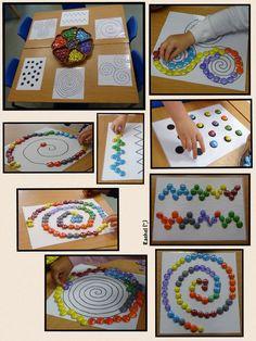 Visual perceptual skills like hand eye coordination, visual tracking, and visual scanning with lines and manipulatives
