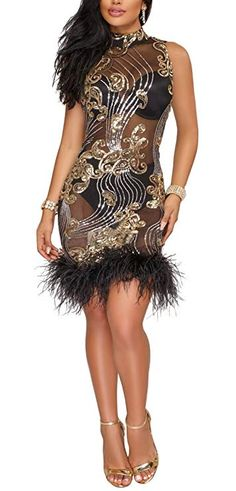 e50d1dcb Amazon.com: Kearia Women Short Sleeve Deep V-Neck Sequin Split Bodycon  Cocktail Party Dress: Clothing
