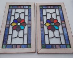 Victorian Flower Pair Leaded Stained Glass Window