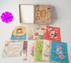 Vintage 1950's Box of Assorted UNUSED Greeting Cards by VintageSistersx2 on Etsy