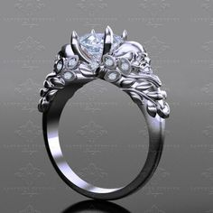 New 'Venice' skull engagement ring Until death do us part… 'Venice' set with a certified 1.00ct princess cut Charles and Colvard forever one moissanite centre
