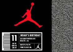 First Birthday Party Themes, 13th Birthday Parties, 23rd Birthday, 30th Party, Birthday Ideas, Box Invitations, Birthday Invitations, Michael Jordan Birthday, Love And Basketball