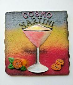 "Tile Art 3D Cosmo Martini 5.5""x 5.5 #plaques #signs (ebay link) 3d Wall Art, Art 3d, Ceramic Tile Art, Floral Wall, Wall Plaques, Cosmos, Ceramics, Signs"