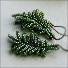 Herringbone leaf/fern/etc for sale and study  Glass Seed Bead, Copper - Earrings - 'Fern Frond'. $30.00, via Etsy.