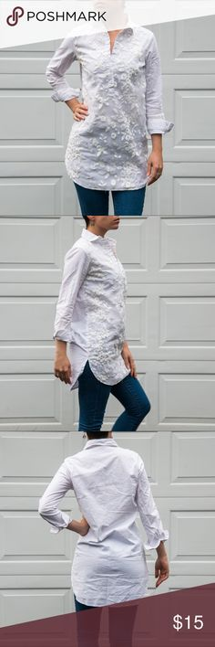 """White Floral Tunic Worn a few times traveling in Spain and Morocco! 🌍 Still looks like new. Is a straight shake & not fitted in the waist. Pictured on me, 5'3"""" with a 32B bust, 25 waist, 35"""" hip. Zaful Tops Tunics"""