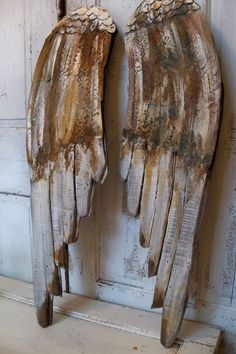 Angel wings large wood carved wall sculpture by AnitaSperoDesign