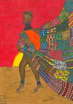 Masai - Mother & Child by Laura Hutton - I love the colors and patterns in this pregnant babywearing mother and child art!