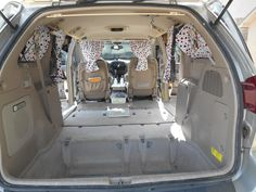 Remove all but the two front seats from the minivan. Mine is a Toyota Sienna -- 2004