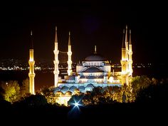 Night View of the #Blue #Mosque, #Istanbul, #Turkey