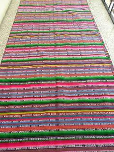 "Guatemalan Frabric Vintage 148""x33"" Multicolor Ikat Dyed Skirt Huipil Sarape"