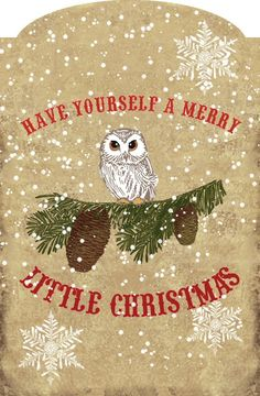 Merry Little Christmas with owl and pine cone and evergreen tag