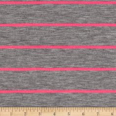Designer Stripe Jersey Knit Grey/Hot Pink from @fabricdotcom  This versatile fabric is perfect for creating stylish tops, tanks, lounge wear, gathered skirts and fuller dresses with a lining. It features horizontal yarn dyed stripes of hot pink and heather grey. This jersey knit fabric has a soft hand, light drape and about 25% stretch across the grain.