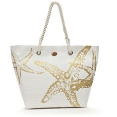 Kim Rogers White Starfish Beach Tote ($20) ❤ liked on Polyvore featuring bags, handbags, tote bags, purses, purses & bags, white, man bag, white tote handbags, white purse and tote handbags