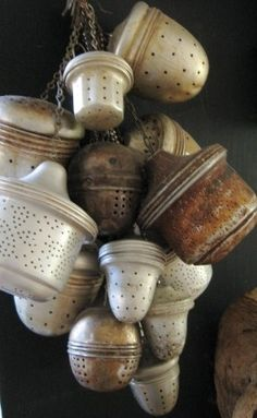 """goodmemory: """" old tea infusers, mostly aluminum """""""