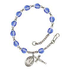 Bonyak Jewelry 18 Inch Rhodium Plated Necklace w// 6mm Faux-Pearl Beads and Saint John Baptist de la Salle Charm
