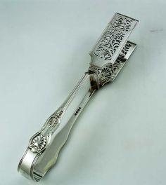 English antique silver asparagus tongs London 1831