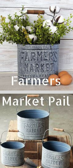 Etsy | Farmers Market Bucket with Handle- Farmhouse Decor Metal Bucket - Small Farmers Market Basket Pail | Farmers Market Pail #ad #etsyfinds #farmhouse #farmhousestyle #farmhousedecor #metaldecor #farmersmarket #farmhousekitchen #farmhousekitchendecor #kitchendecor #farmhouseinteriordesignideas #rusticcountryfarmhousedecor