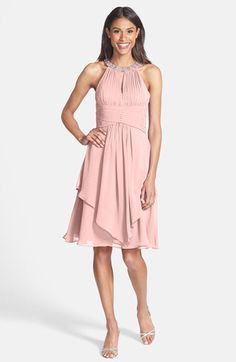 Eliza J Eliza J Embellished Neck Layered Chiffon Fit & Flare Dress available at #Nordstrom