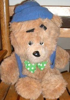 "Animal Fair Vintage TED E BEAR Blue Hat Green Bow-tie-Stuffed Animal Plush-12"""