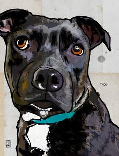 Thor Art Print. Staffy. Staffordshire Bull Terrier by Ed Pires