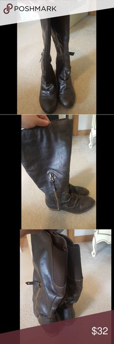 Wide calf boots LIKE NEW worn once, brown wide calf boots, SO comfortable. Zip up. Diba Shoes Winter & Rain Boots