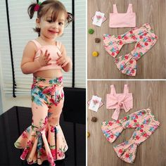 US Kids Baby Girls Floral Bandage Tops Bell-bottoms Pants Outfit Clothes Summer - Dresses kids girl - Kids Summer Dresses, Dresses Kids Girl, Little Girl Outfits, Kids Outfits Girls, Kids Girls, Baby Girls Clothes, Baby Dresses, Summer Girls, Wedding Dresses