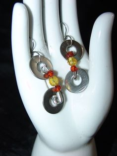 HANDCRAFTED WASHERS, BEADS & SAFETY PINS EARRINGS (Marie Elana Designs) Safety Pin Jewelry, Safety Pin Earrings, Safety Pins, Diy Crafts Jewelry, Diy Jewellery, Simple Earrings, Diy Earrings, Homemade Jewelry, Bijoux Diy
