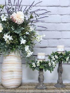 Lavender Poppy Floral Style, Floral Design, Small Candle Holders, Faux Flower Arrangements, Faux Flowers, Artificial Flowers, Flower Art, Poppy, Lavender