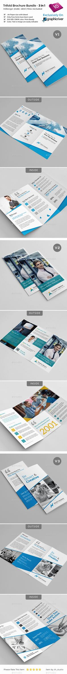 Trifold Brochure Template INDD Bundle - 3 in 1