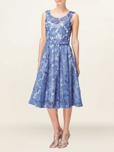 Phase Eight Dorothy fit and flare dress Cornflower - House of Fraser £79 I really like this one Cadie- make sure you zoom!  It's really pretty up close- the flowers are kinda cut out. Could have a big white bow sash and put extra petticoats underneath?