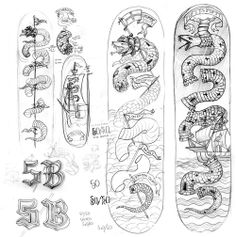 5boro newyork snake collaboration skateboard deck