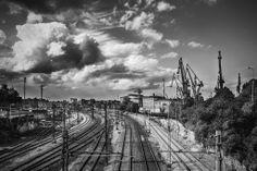 #Gdansk #SKM #Train #Trackway #BlackAndWhite #Cranes #Shipyard | photo: Łukasz S