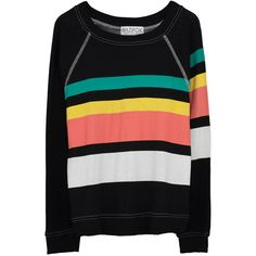 Wildfox Couture 70s Stripe Sommers Sweater - Black ($135) ❤ liked on Polyvore featuring tops, sweaters, striped boatneck sweater, boat neck tops, boat neck sweaters, striped boatneck top and stripe top