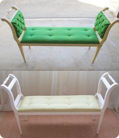 DIY ottoman: DIY ottoman DIY furniture two chairs and a board when I wood . - DIY ottoman: DIY ottoman DIY furniture two chairs and a board when I wood acr Refurbished Furniture, Repurposed Furniture, Furniture Makeover, Painted Furniture, Chair Makeover, Furniture Projects, Furniture Making, Diy Furniture, Furniture Upholstery