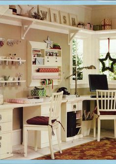 Craft room, sewing room, hobby room, or home office Craft Room Storage, Room Organization, Craft Rooms, Storage Ideas, Fabric Storage, Ribbon Storage, Paper Storage, Wall Storage, Wall Shelves