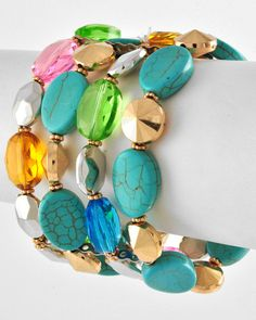 Turquoise Stone and Glass 4 Row Bracelet. Starting at $8 on Tophatter.com!