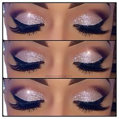 Stunning silver sparkled eyes with dark brown to nude on the upper lids - black liner & mascara finish off this make up look.x love this eye make up Makeup Goals, Makeup Tips, Beauty Makeup, Makeup Ideas, Makeup Tutorials, Makeup Art, Fairy Makeup, Mermaid Makeup, Makeup Designs