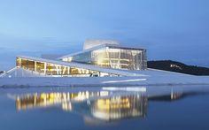 Oslo, Norway.   The Bjørvika waterfront, home to the half-submerged glass opera house.  Photo: CORBIS