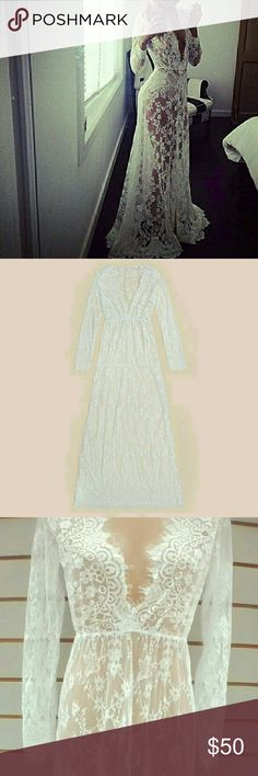 """Romantic Lace Dress Brand new, no tags. Lace is extremely soft and does stretch. This dress is super long (61"""" to be exact!) Under garments are not included.   This dress can be worn as a gown, lingerie... Really cute for a photo shoot! So many possibilities! Definitely a dress worth having!  Offers welcome! Dresses Maxi"""