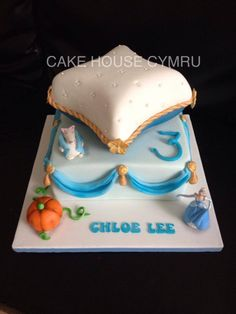 #3rd Birthday Cake - #Cinderella themed cake with edible mouse & pumpkin