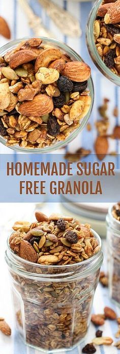 You Can Lose Pounds By Cook With BUT Only If You Use The RIGHT Way, Homemade Sugar Free Granola Recipe. Made with healthy nuts, seeds, oats and coconut oil. Naturally sweetened with apple sauce and raisins. No refined sugar added. Weight Watcher Desserts, Homemade Sugar Free Granola, Healthy Homemade Granola, Breakfast Recipes, Snack Recipes, Sugar Free Breakfast, Breakfast Fruit, Healthy Recipes, Oatmeal Recipes