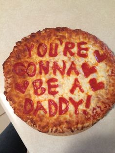 Pregnancy Announcement   I used pepperonis for the words. My husband loves pizza so I thought this would be a good surprise!